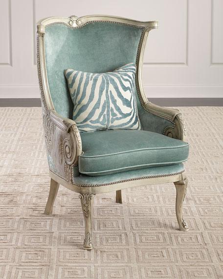 Massoud Silver Damask Chair