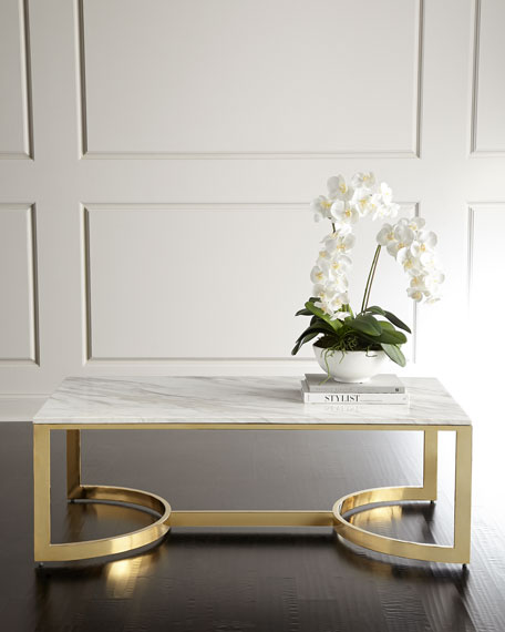 Image 1 of 6: Bernhardt Marquis Marble Coffee Table