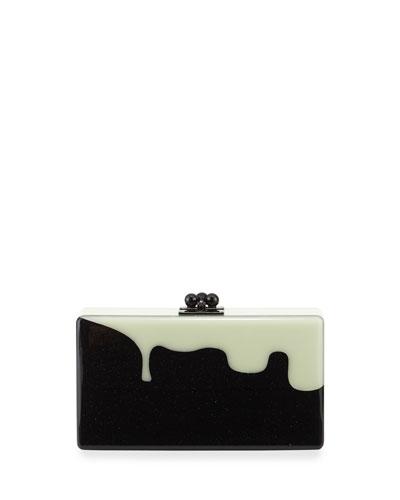 Jean Slim Box Clutch Bag, Obsidian Sand/Glow