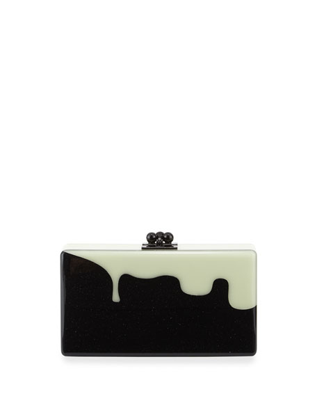 Edie Parker Jean Slim Box Clutch Bag, Obsidian