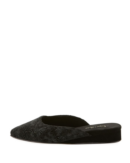 Gillian Crystal Velvet Slipper, Black