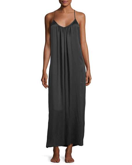 Image 1 of 2: Washed Silk Long Easy Nightgown