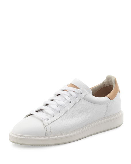Brunello Cucinelli Men's Leather Sneaker, White