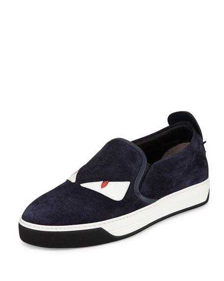 Fendi Monster Slip-On Skate Sneaker, Blue