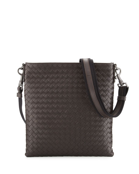 Bottega Veneta Men's Woven Zip-Top Messenger Bag | Neiman Marcus