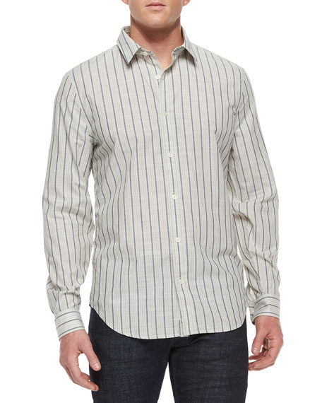 7 for all mankind Men's Striped Long-Sleeve Sport