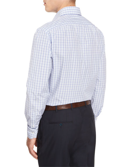Box Check Mitered-Cuff Dress Shirt, White/Blue