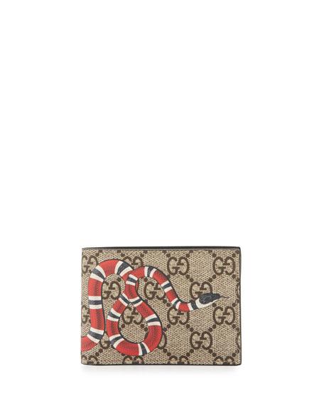 eee785c323e Gucci Bestiary Snake-Print GG Supreme Wallet