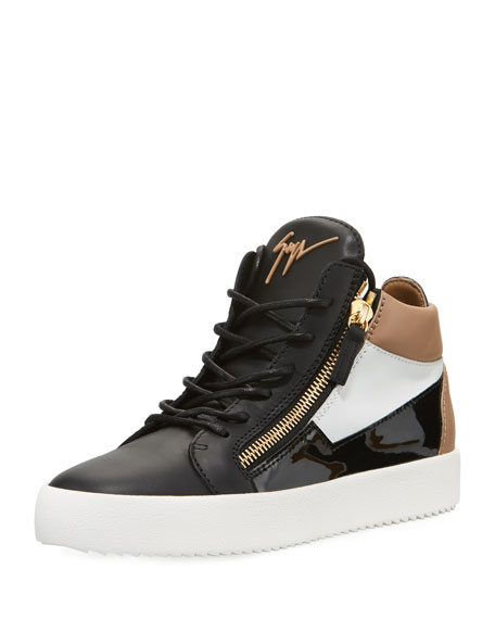 Image 1 of 3: Men's Embossed Leather Mid-Top Sneakers
