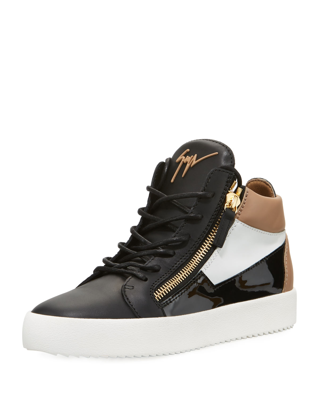 04184763836 Men's Embossed Leather Mid-Top Sneakers