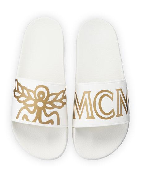 9119999a9 MCM Men's Rubber Logo Slide Sandals | Neiman Marcus