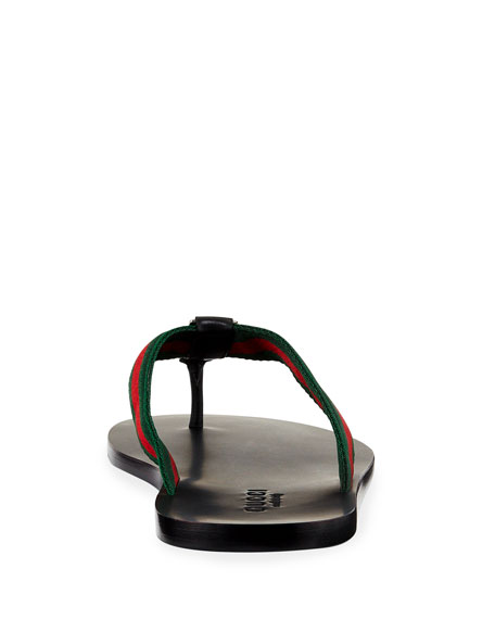 Image 4 of 5: Gucci GG Line Signature Web Thong Sandal