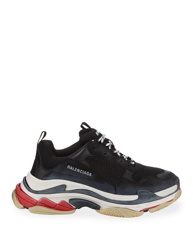 Triple S Mesh \u0026 Leather Sneakers, Black