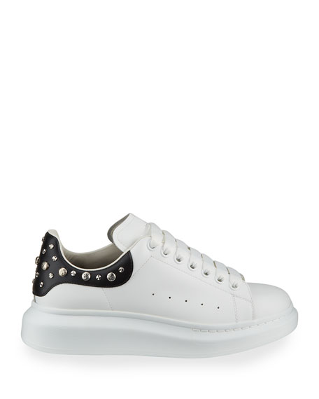 Alexander McQueen Men's Larry Leather Lace-Up Platform Sneakers with Spiked Trim
