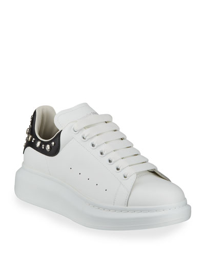 Men's Larry Leather Lace-Up Platform Sneakers with Spiked Trim