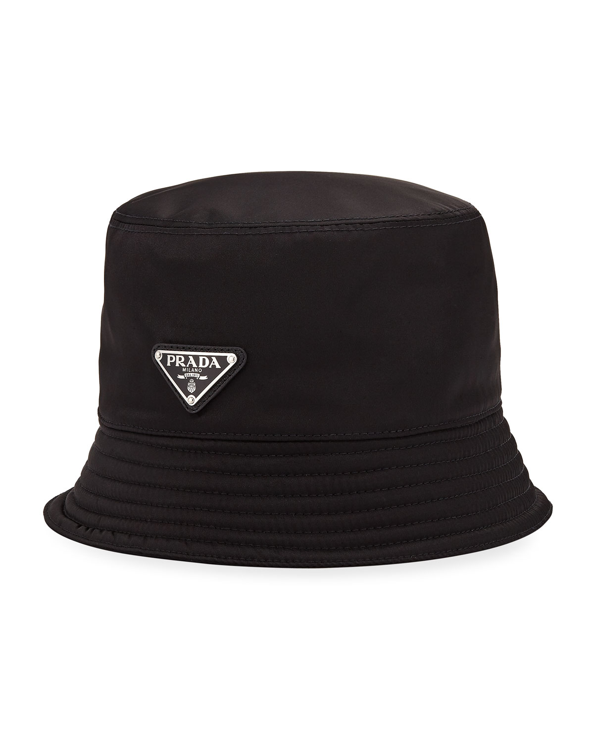Prada Men s Nylon Bucket Hat with Logo  2b830eec93e