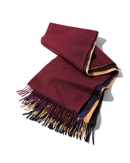 Image 2 of 4: Neiman Marcus Men's Cashmere Solid Fringe Scarf