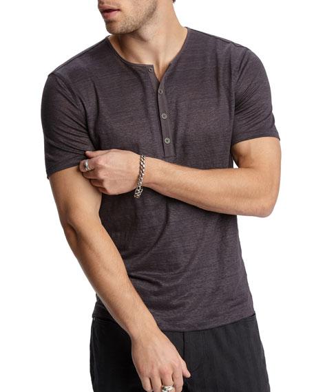 John Varvatos Men's Regular-Fit Short-Sleeve Linen Henley Shirt