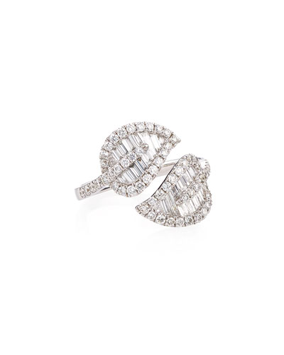 Leaf 18k White Gold & Diamond Wrap Ring