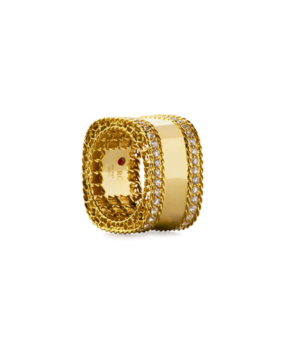 Princess 18k Gold Square Ring with Diamonds, Size 6.5