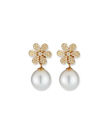 Image 1 of 3: Belpearl 18k Diamond-Daisy Pearl-Drop Earrings