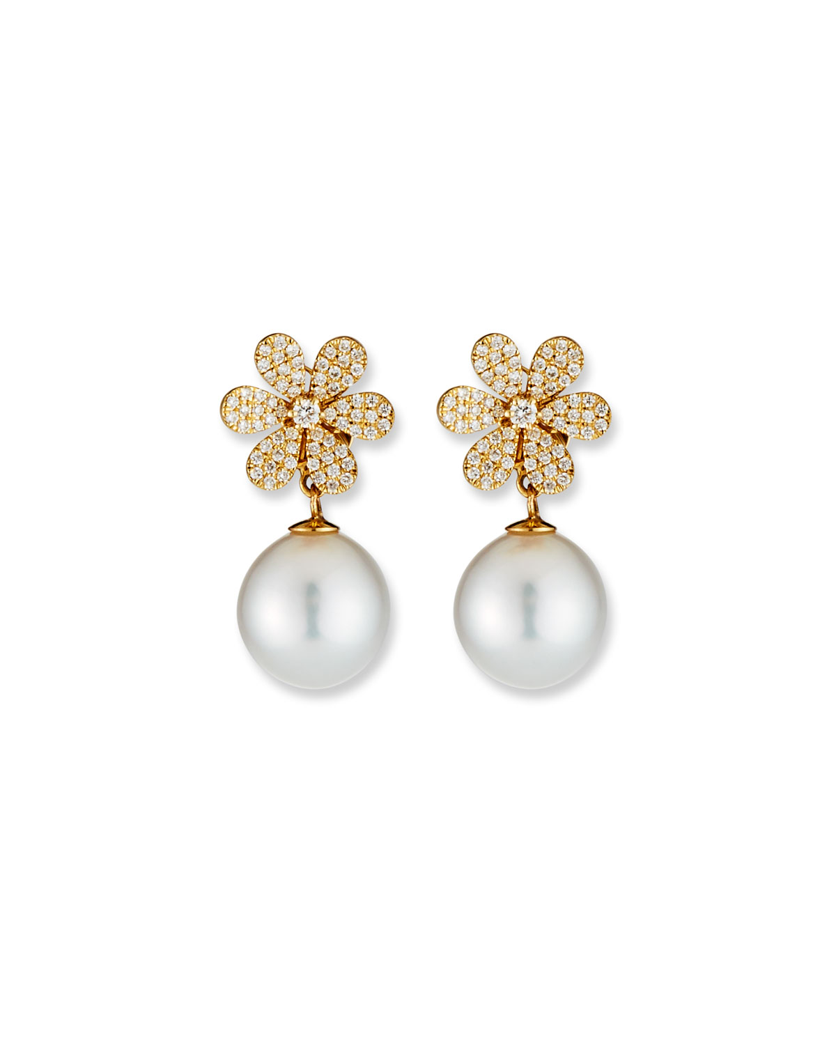 Belpearl 18k Diamond-Daisy Pearl-Drop Earrings