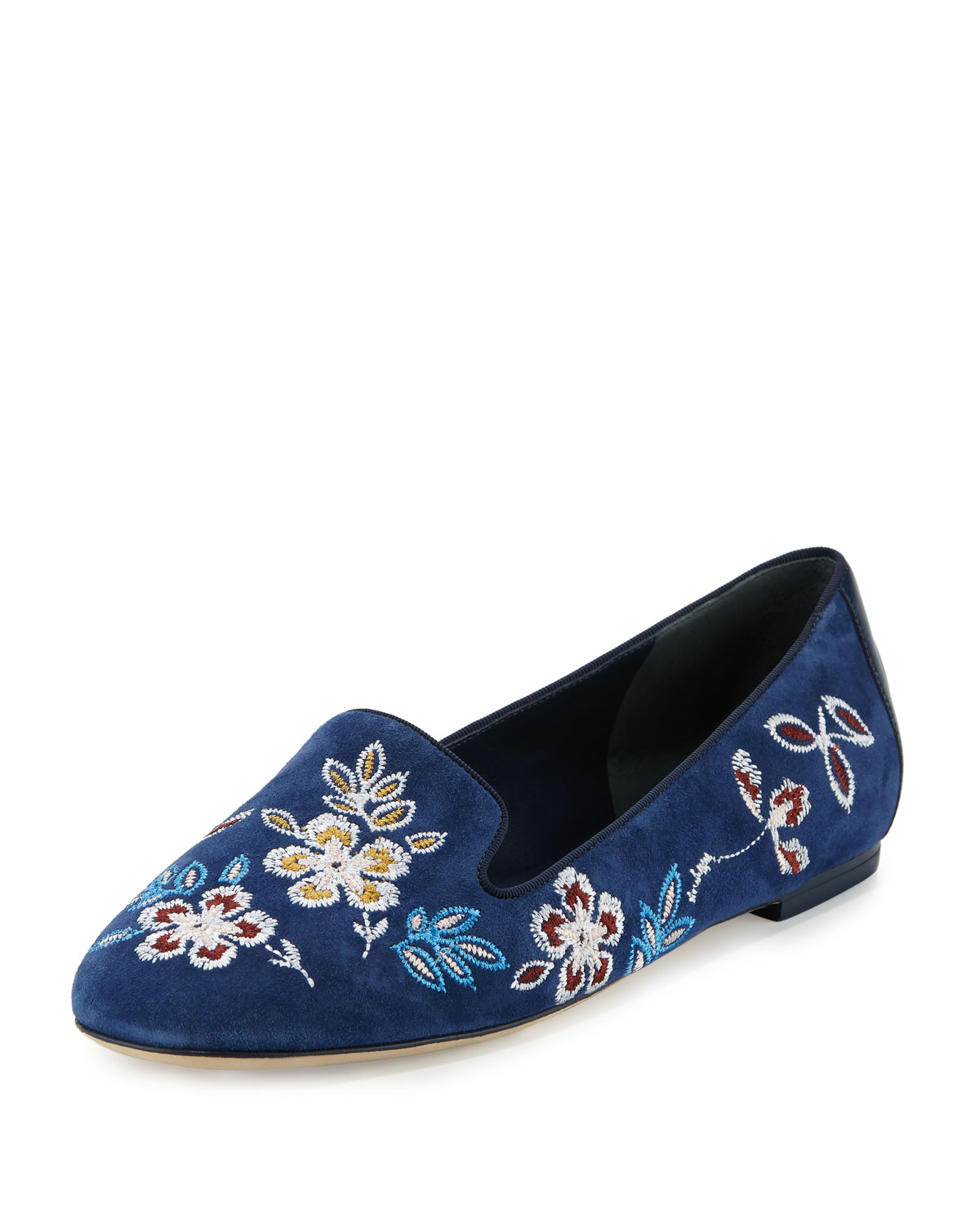 08a73c54257 Tory Burch Embroidered Suede Smoking Slipper