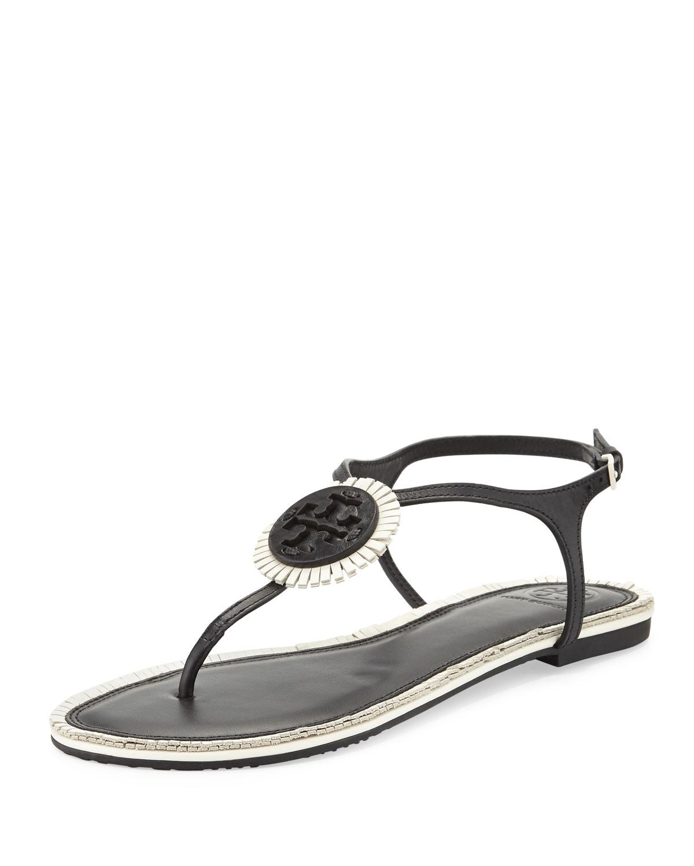 53ee3c646544 Tory Burch Miller Logo Fringe Flat T-Strap Sandal