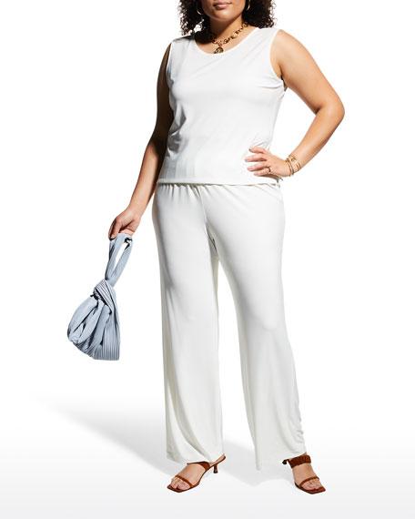 Caroline Rose Stretch-Knit Straight-Leg Pants, White