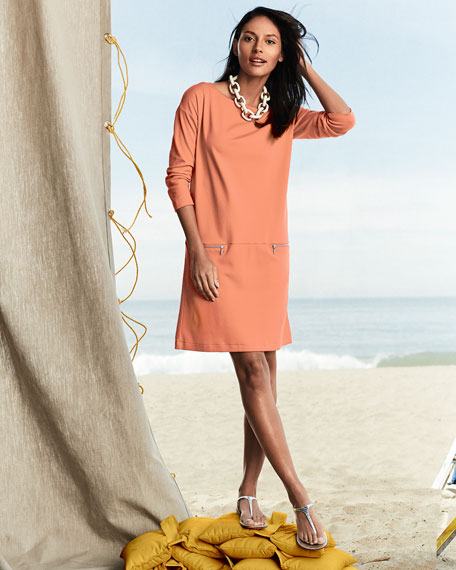 Joan Vass Petite Knit Zip-Pocket Shift Dress