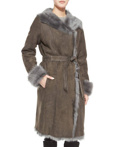 Reversible Shearling Overcoat W/ Fur Trim