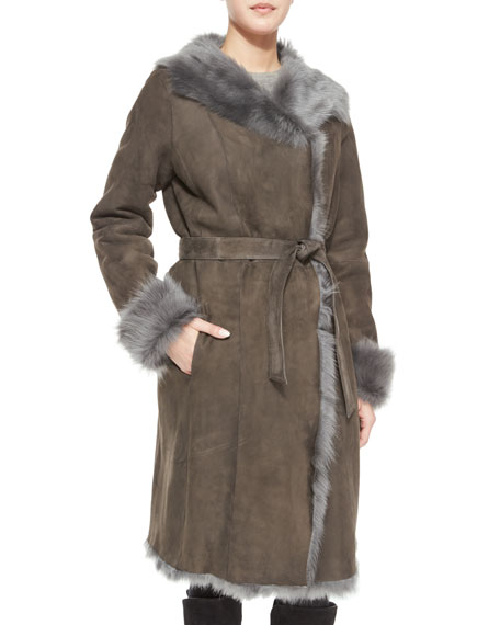 GoesReversible Shearling Overcoat W/ Fur Trim