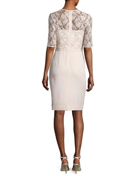 Lace & Crepe Sheath Dress