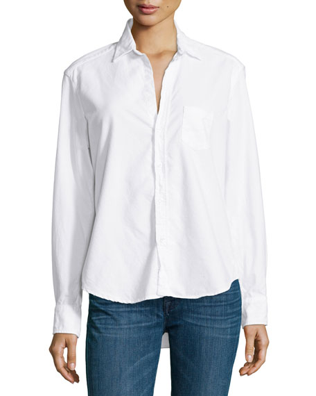 Eileen Long-Sleeve Button-Front Blouse, White