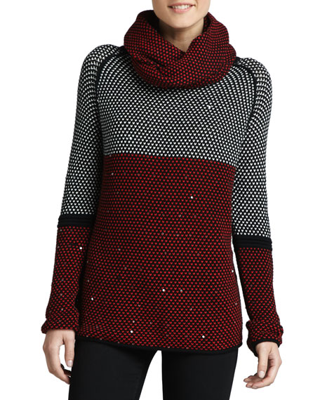 Birdseye-Knit Sweater W/ Removable Scarf