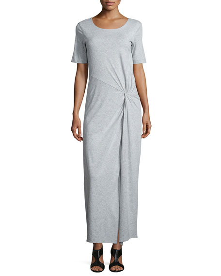 Joan Vass Short-Sleeve Ruched Jersey Maxi Dress, Plus