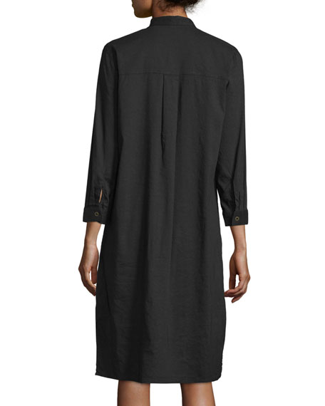 3/4-Sleeve Linen-Blend High-Low Dress