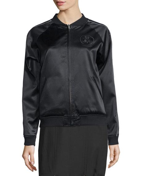 Bonsai-Embroidered Silk Reversible Varsity Jacket, Black