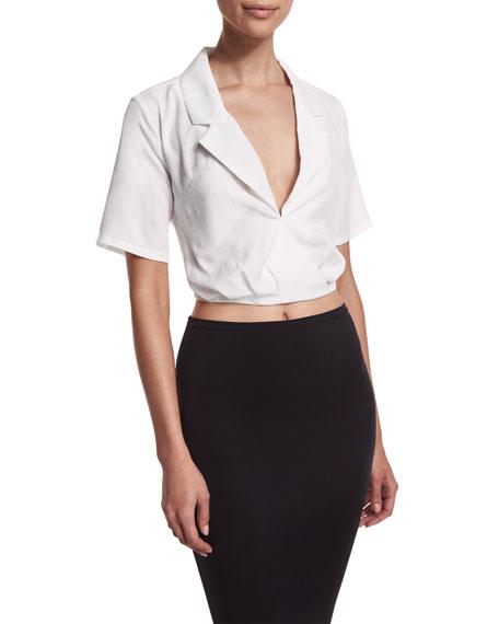 Cropped Tie-Back Wrap Blouse, White