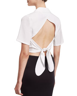 Cropped Tie-Back Wrap Blouse, White