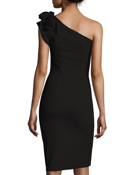 Enrica One-Shoulder Rosette Sheath Dress
