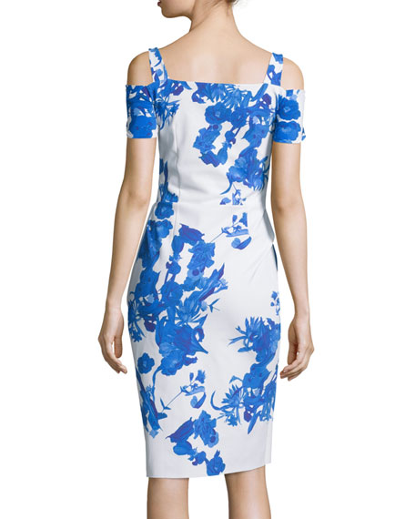 Custom Collection: Julia Cold-Shoulder Ruched Cocktail Sheath Dress