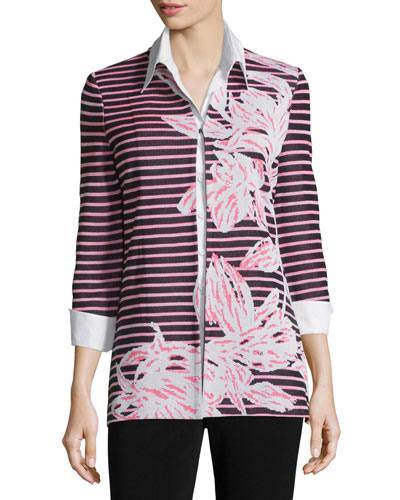 Floral & Striped 3/4-Sleeve Jacket