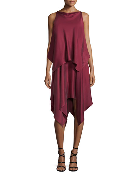 Elizabeth & James Greer Sleeveless Satin Handkerchief Dress,