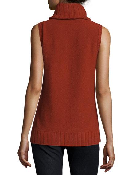 Sleeveless Mixed-Stitch Cashmere Turtleneck
