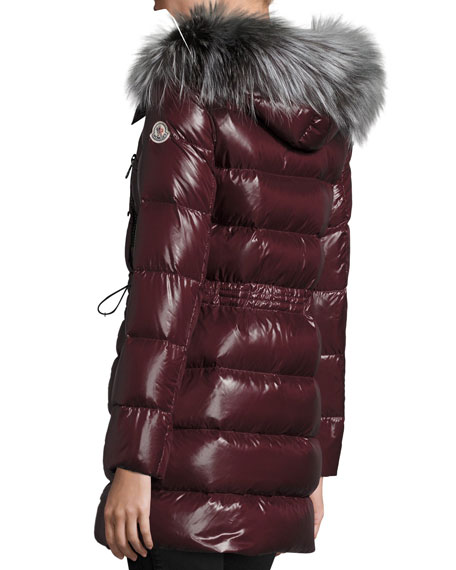 Aphrotiti Shiny Quilted Down Coat w/Fur Hood