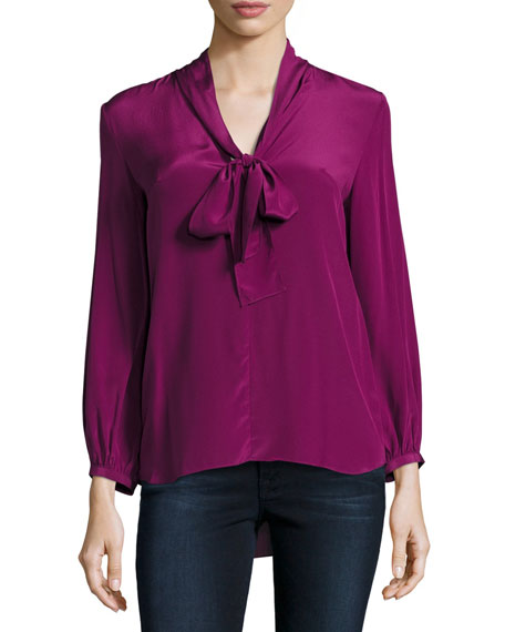 Amanda Uprichard Francesca Tie-Neck Silk Top
