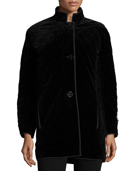 Jane Post Quilted Velvet Raincoat, Black