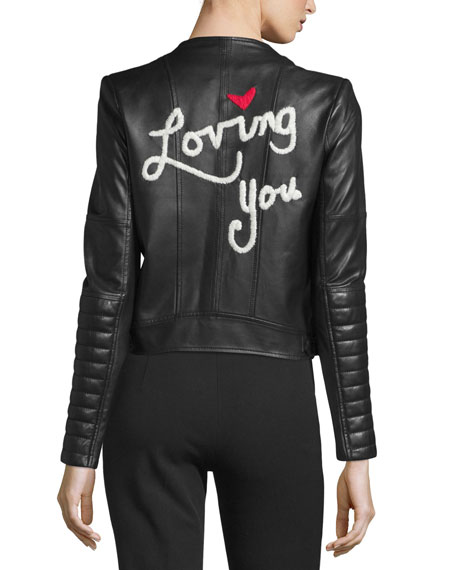 Gamma Loving You Embroidered Leather Biker Jacket