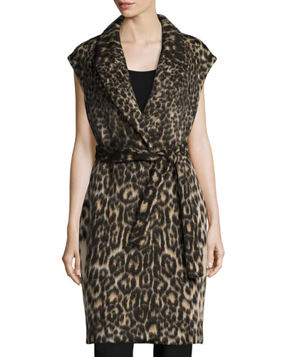 Noa Long Leopard-Jacquard Vest, Chocolate Multi